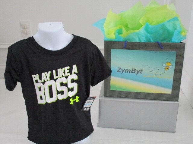 Under Armour Boys Dri-Fit Neon Yellow Logo Short Sleeve shirt Size 2T 3T 5