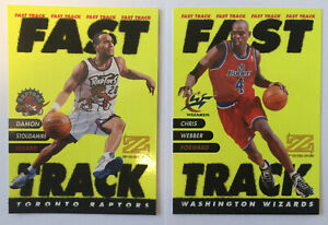 Fast-Track-RARE-INSERT-LOT-of-2-Damon-Stoudamire-Chris-Webber-1997-98-Premium-NM