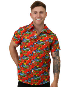 Mens England Hawaiian Flag World Cup Loud Stag Do Adults Fancy Dress Shirt Top