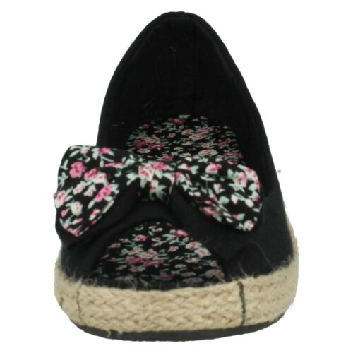 LADIES WOMENS SPOT ON FLORAL BOW TRIM SLIP ON PEEP TOE CASUAL FLATS SHOES F2127