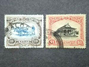 1912-21 Straits Settlements Malaya Kedah Wmk MCCA 10c & $1 - 2v Used