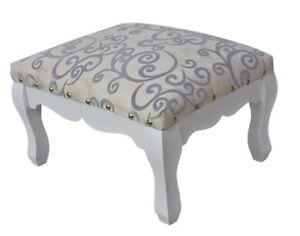 Sedia sgabello tessuto bianco argento nuovo casa di campagna