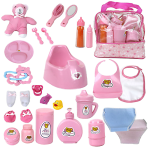 28 Accessories Baby Doll Feeding Changing Potty Toy Bag Set