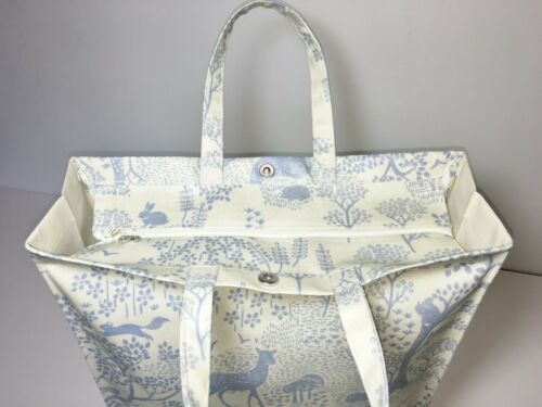 Woodland Life Blue /& Ecru Handmade 100/% Cotton Oilcloth Tote Bags Many Sizes