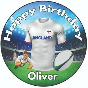 Personalised-Birthday-Cake-Topper-8-034-Icing-Decoration-Rugby-Shirt-England