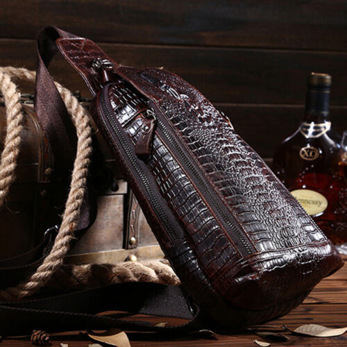 100/% Genuine Leather Crocodile Pattern Crossbody Bag Sling Backpack for Hiking