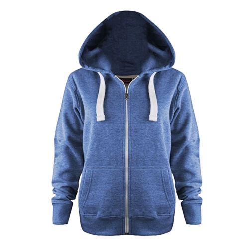 Womens Ladies Plain Coloured Zip Up Hooded Fleece Sweatshirt Hoody Jacket S-8XL