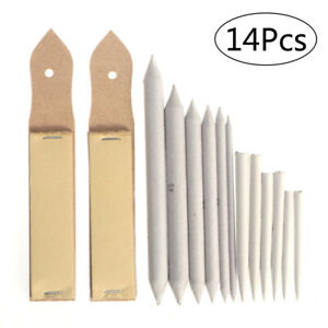12pcs-Blending-Stumps-and-Tortillions-Set-with-2pcs-Sandpaper-Pencil-Sharpener