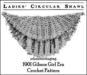 1889 Victorian Shoulder Cape Crochet Pattern Historical Village Crocheted Shawl