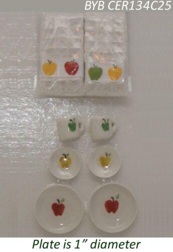 2 Four Piece Place Settings Apple Pattern Dollhouse Miniature Accessory