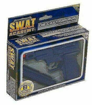 1x DIE CAST 8 Shot METAL CAP GUN Silenziatore SWAT missione regalo di compleanno
