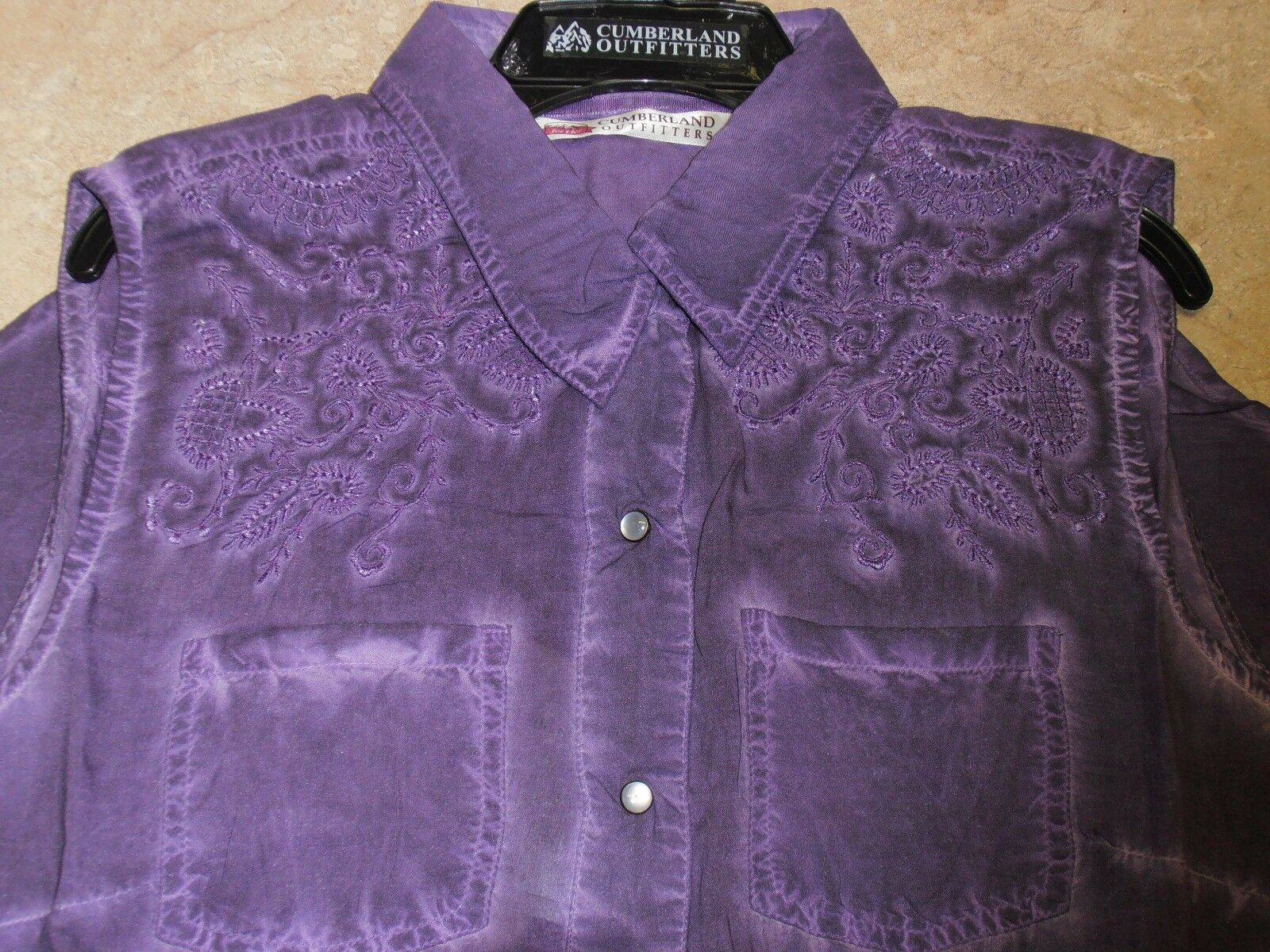 Ladies Purple Tie Dye Marbled Show Barrel Racing Riding Sleeveless Summer Shirt