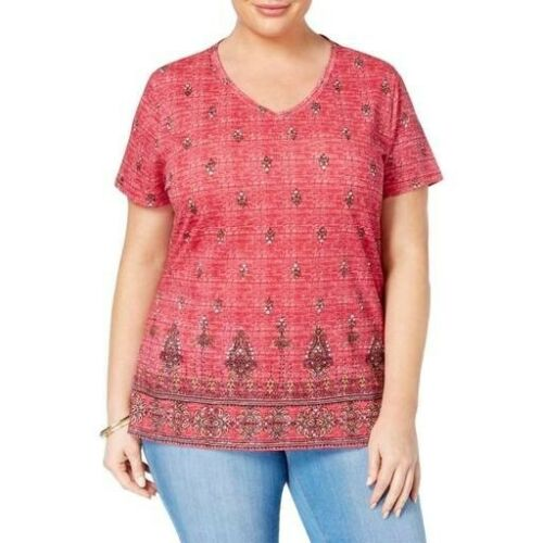 Red #8301 Style /& Co Plus Size Short Sleeve V-Neck Cotton Graphic Tee 3X