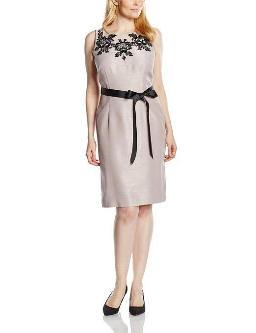 New Jacques Vert Dress Shantung Embroidered Neutral Opal shift occasion rrp