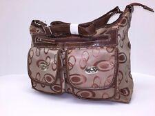 New Women Brown 3 PC Set Jacquard Satchel Tote Large Fashion Handbag X-mas Gift