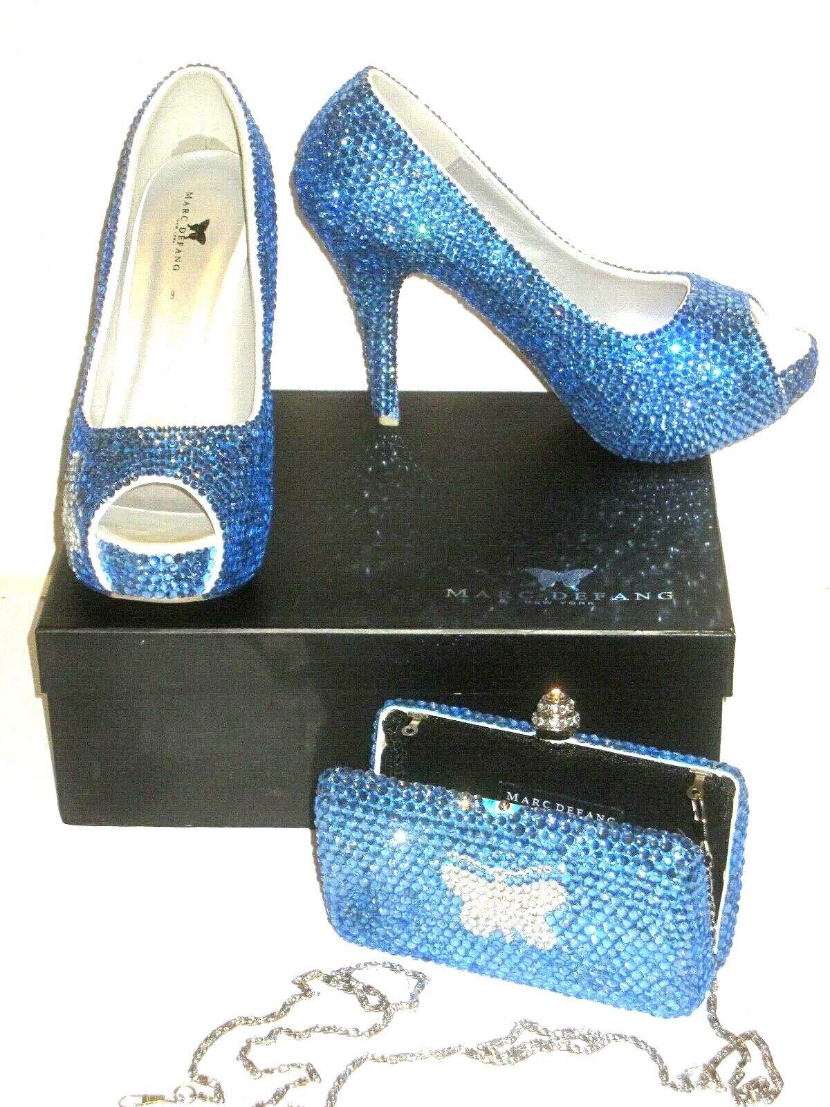Marc Defang High Heels bluee Crystal Purse Set Size 9