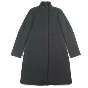 J-Crew-Womens-6-Wool-Blend-Double-Cloth-Sleek-Black-Belted-Mock-Neck-Day-Coat