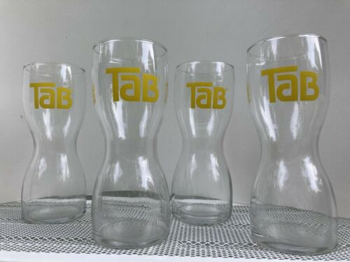 Vintage TAB Soda Drinking Glass Coca Cola Diet Drink Hourglass Shape