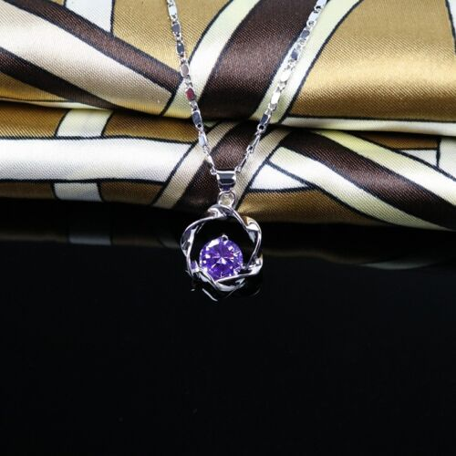 Crystal Fine jewelry white gold plated chain Necklace Pendant Engagement