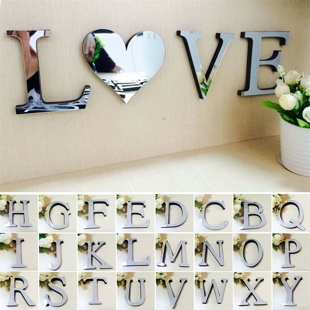 Home Decoration - 1Pcs 3D Mirror Wall Sticker Letters DIY Art Mural Home Room Decor Acrylic Decals