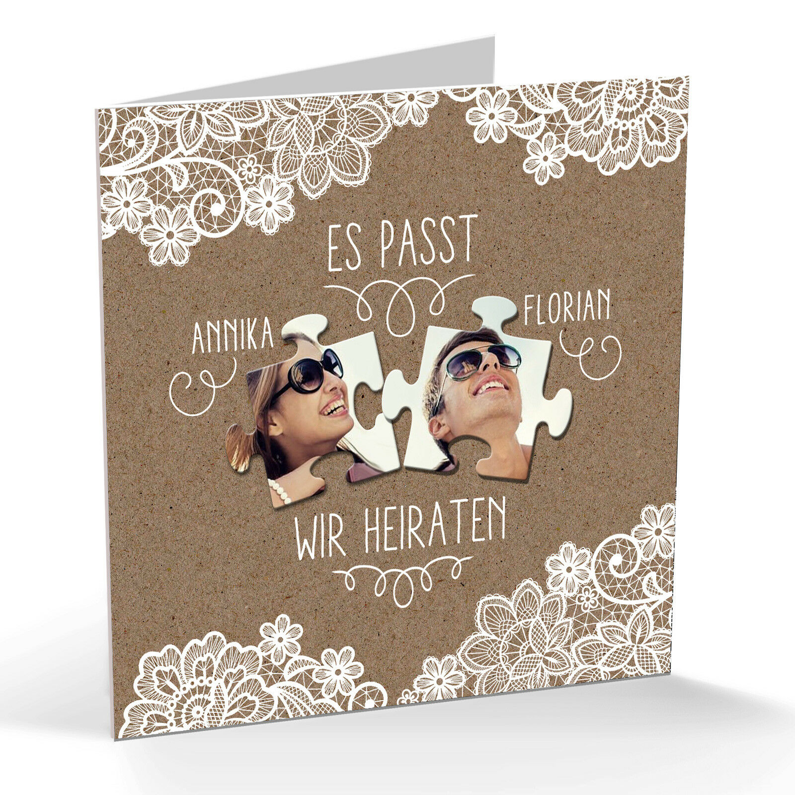 Einladungskarte, Save the Date, Hochzeit – Vintage Spitze Puzzle 3