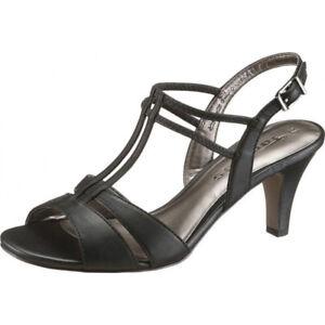 0f790226ca70fa Das Bild wird geladen TAMARIS-Damen-Sandaletten-Sandalen -SCHUHE-Leder-Abendschuhe-Schwarz-