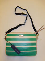 Rebecca Minkoff Green Stripe Cross Body Tabitha Tablet Sleeve Case Canvas