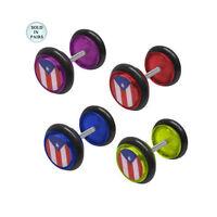 Acrylic Puerto Rican Flag Design Ear Plugs 1 Pair