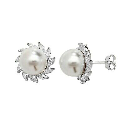 New Ladies Sterling Silver Mother Of Pearl Earrings Studs 7mm 925 Hallmarked