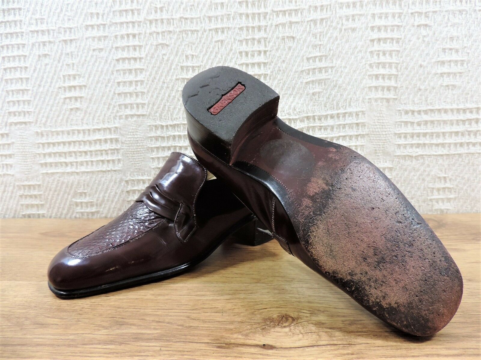 Grenson Lizard Pelle di di di Serpente   8 e 41 Bordeaux Mocassini in pelle 116439