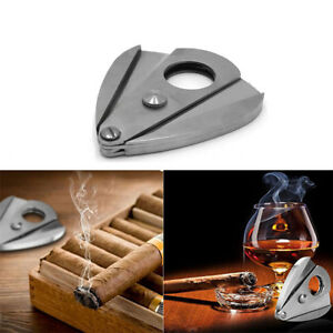 Cigar-Cutter-Knife-Guillotine-Stainless-Steel-Pocket-Scissors-Double-Blades