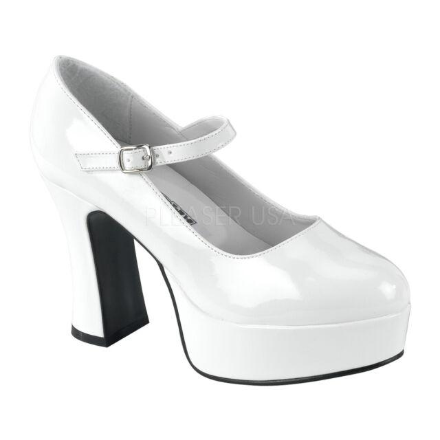 d96fc3f0345a6 Funtasma Women's Summer Shoes Chunky Heel Platform Mary Jane PUMPS  Maryjane-50 9 White Pat