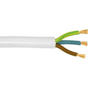 MAINS CABLE WIRE WHITE - 3183Y 28 AMP ELECTRICAL FLEX 2.5mm 3 CORE