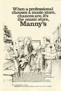 Details about 1978 Manny's Music Store, New York, NY - Vintage Ad