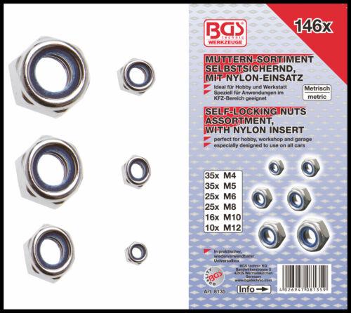 Self Locking Nut Assortment M4,5,6,8,10,12-146 Pcs 8135 Pro Range BGS