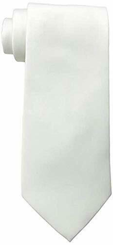 K Alexander Men's Solid WHITE Tie, White, Size 57 Inches US
