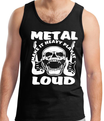 Heavy Metal Tank Vest Sleeveless Top T-Shirt T-Shirt Hard Rock Gig Music Loud
