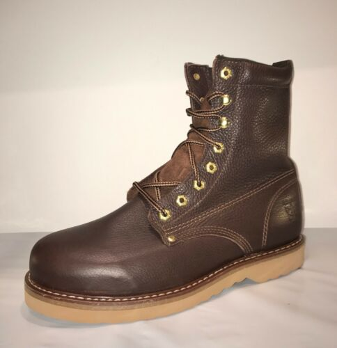 Rhino 81M28 Mens Brown Leather 8 Inch Soft Toe Lace Up Work Boots