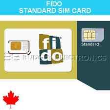 FIDO Standard Regular SIM Card Prepaid No Contract Travel Canada