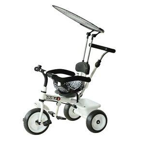 HOMCOM  Triciclo Delux con Maniglione, Parasole, Passeggino per Bimbo in Metallo