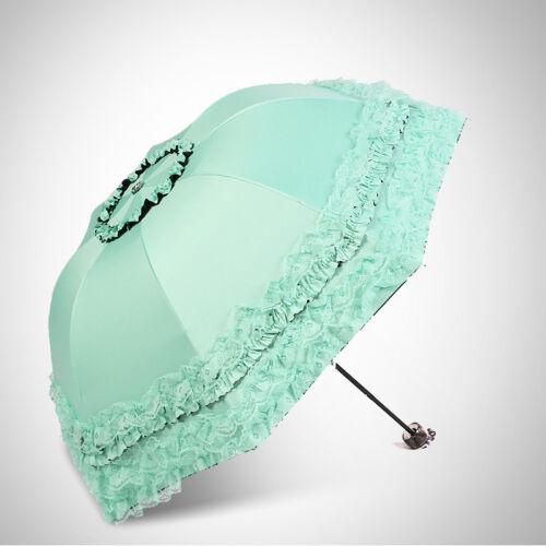 Lolita Girls Parasol Sun Rain Women Princess Lace Anti-UV 3 Folding Umbrella