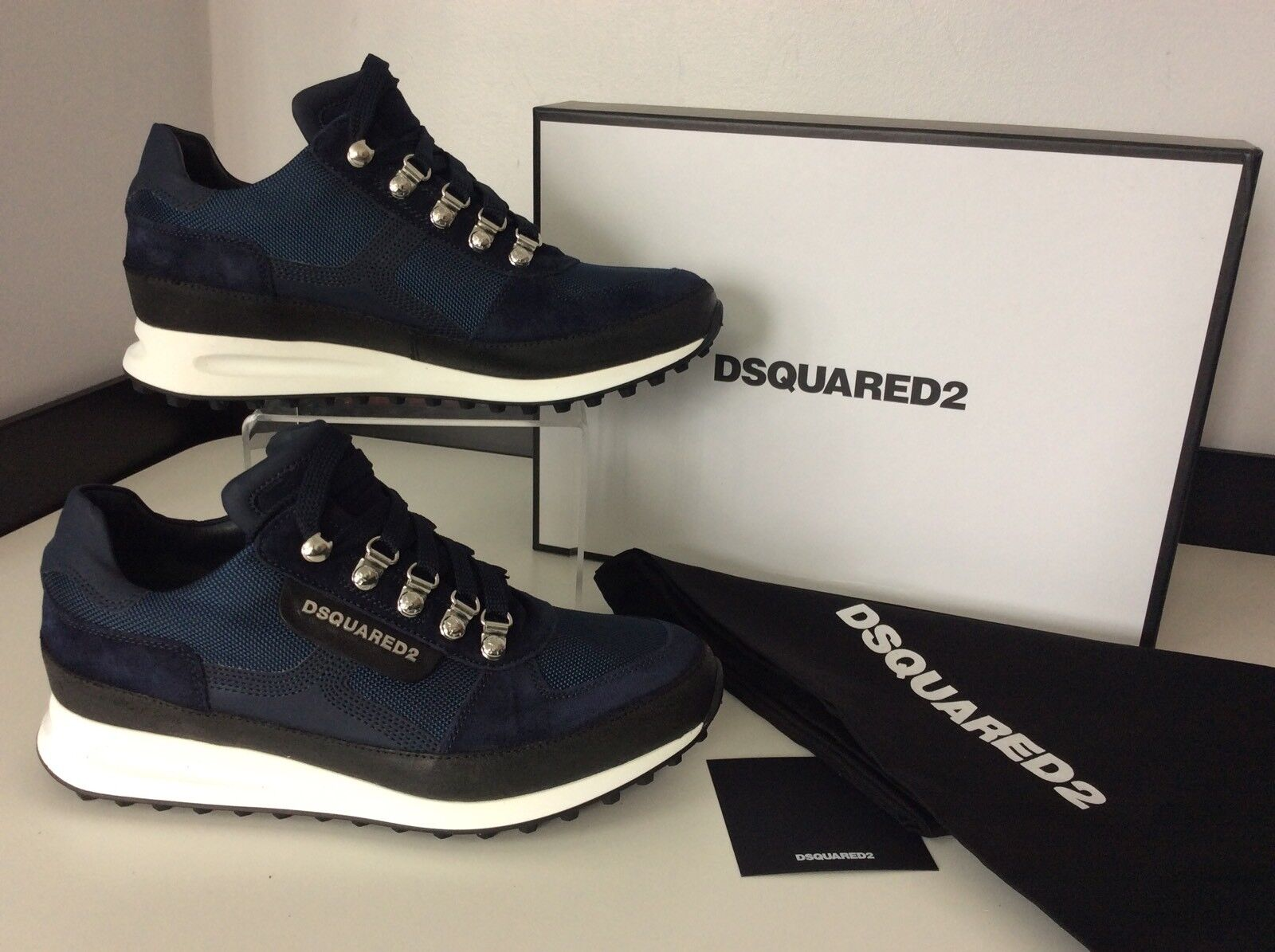 Dsquared2 White Ds2 Men's Sneakers, Runners, Eu39, Navy Blue & White Dsquared2 NEW TRAINERS 9eac31