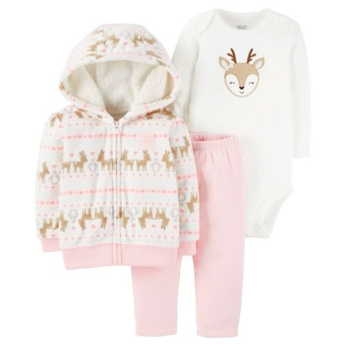 Bodysuit NB Carter/'s Baby Girls 3pc Pink Reindeer Hooded Cardigan Pants 3M