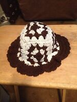 Hat, Hand Crochet Granny Square Hat