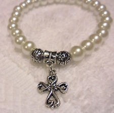 BEAUTIFUL PEARL BRACELET WITH COMFORT CROSS CHARM...EXPANDABLE....FITS ANY WRIST