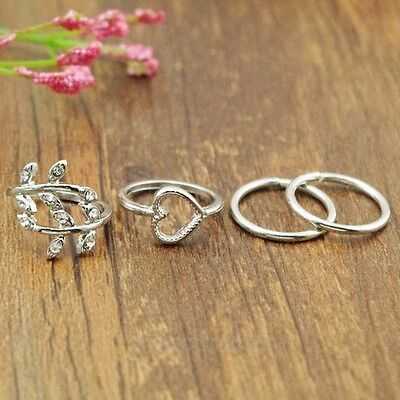 4PCS/Set Urban Gold/Silver Crystal Plain Above Knuckle Rings Band Mid Finger MPJ