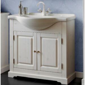 Details zu Waschbeckenunterschrank Waschtisch 85cm Badmöbel Massivholz  Landhaus Weiß Bad