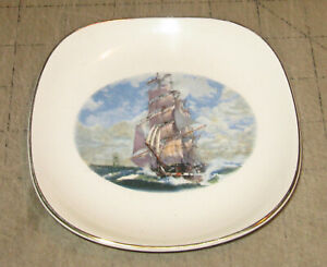"""LORD NELSON Tall Ship 5"""" Somewhat Square Mini Plate - Made in England - Clipper"""