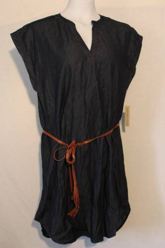 NEW Womens Tunic Dress Plus Size 1X Blue Knee Length Cap Sleeves V-Neck Belt