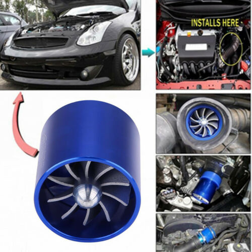 Supercharger Dual Double Turbonator Cold AIR Intake Turbo Charger Fan Fuel Saver